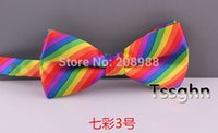 Wholesale Ems Bow Tie - Cheap Price!! Wholesale Fashion Rainbow Bow Tie Stripe Bowtie for Adult DHL EMS Free Shipping 100pcs lot #1531