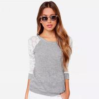 coreano largo encaje blusa al por mayor-Nueva blusa de encaje con manga larga Sexy otoño coreano O-cuello gris de ganchillo sin respaldo más el tamaño de las mujeres ropa Top blusa camisas casuales B128