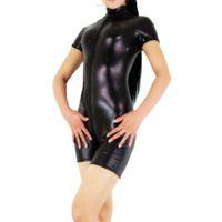 Wholesale Zentai Red Metallic - Wholesale-Womens Metallic Shiny Spandex Unitard Bodysuit Gymnastics Outfits Short Sleeve Unitard Skin Tight Lycra Shorts Unitard