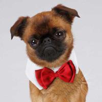 orta boy kostümler toptan satış-Resmi Pet Papyon Holliday Düğün Köpek Yaka Köpek Giyim Kostüm Aksesuarları Küçük Orta Kediler Köpekler Evcil için Siyah Kırmızı