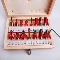 Wholesale Carbide Parts - 15PC DIY Tungsten Carbide Router Bit Set Wooden Case Tool Kit 1 4 Shank (12090115002)
