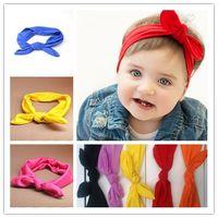 Wholesale Baby Ear Band - Wholesale - baby girl Elastic cloth Rabbit ears bow headbands Pink hair band for hairlace baby baby headbands