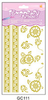 Wholesale Top Arm Tattoos - Top quality gold sexy metallic tattoos flash temporary tattoos flower heart stickers for sale