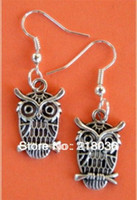 Wholesale Owl Accessories For Girls - 20Pair Vintage Owls Charms Drop Earrings Dangle Long Alloy Pattern Earring Fashion Jewelry For Women New Accessories Girls Bijoux M2691