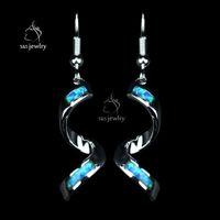 Wholesale Opal Drop Earrings Silver - New Design Luxury Opal Gem 925 Sterling Silver Earrings Shiny Spiral Long Drop Earrings For Women EU Fashion Jewelry Gift ER034