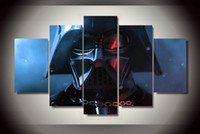 Wholesale Group Canvas Painting Framed - 5 Panel Framed Printed star wars darth vader maska 5 piece Group Painting room decor print poster picture framed canvas painting