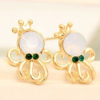 24pairs / lot Romantique Ocean Octopus Style Boucles d'oreilles Bijoux de plage Bijoux strass Crown Ladies Pearl Ear Studs je025