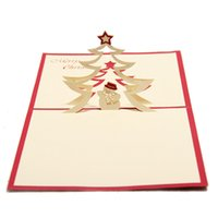 Wholesale postcard birthday cards - Cute Christmas Snowman Nativity Design Christmas Cards 3D Laser Cut Pop Up Paper Birthday Gifts Postcards Custom Greeting Cards