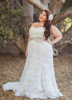 Wholesale Custom Design Waist Sashes - 2016 New Design Plus Size Lace Wedding Dresses Sweetheart Empire Waist Beaded Belt sweep Train Bridal Gowns Lace up Back Custom Made