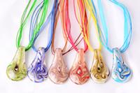 Wholesale transparent tin - wholesale 6pcs handmade mix color Italian venetian Transparent Drop Lampwork murano glass pendant 3+1 silk necklaces nl0177m*6