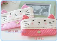 Wholesale Kitty Cat Pencil Bag - Wholesale-School Plush Kitty Cat Plush Pen Pencil BAG Pouch Case Packs ; Pendant Cosmetic & Beauty Pouch Bag Case Coin Purse Wallet BAG