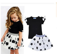 Wholesale Bebe Summer Dresses - 2016 ins summer baby girls clothing set bow short T-shirt+flower skirt 2pcs kids children bebe baby girl clothes set suit girls dresses