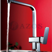 Cheap Kitchen Sink Faucets Modern Square Free Swivel Hose Spray Single  Handle Chrome Polished Copper Deck