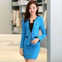 Wholesale Long Blazer For Women Red - Autumn Formal Red Blazer Women Suits with Skirt and Jacket Sets Ladies Office Suits Work Uniform for Beauty Salon