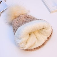 Wholesale Double Ball Wool Cap - 2017 hot Double layer fur ball cap pom poms winter hat for women girls hat knitted beanies cap thick female cap