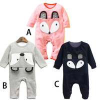 Wholesale Wholesale Leotard Long Sleeves - Baby Romper 2015 New Autumn Romper cute fox pattern Romper long-sleeved leotard clothing baby clothes climb kids clothes