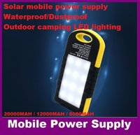 Wholesale Cellphone Power Pack - NEW Mobile power supply 12000mAH Energy saving Solar Battery Pack Power Bank LED lighting For Cellphone Used for iPhone ups