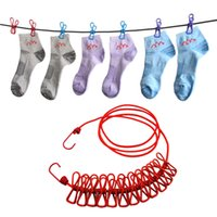 Outdoor Travel Portable Clothesline Garment Clip Socks Intimo Hanger Scalable Corda elastica antivento con 12 clip LZ0681
