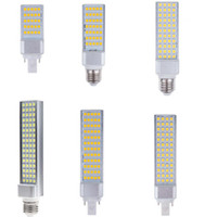 Wholesale G24 44 - G25 LED Horizontal Plug bulb 25 35 44 52 60 64 pcs SMD 5050 LED corn bulb 6W 7W 10W 12W 14W 15W warm cool white