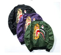 Wholesale Green Printing Services - yeezus men women Jacket Men WGM Embroidery Shark MA1 Air Force Flight Jacket Male Baseball Service US Air Force Pilot Jacket