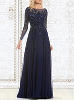 ver todos os tops venda por atacado-2019 Vendidos elegante Azul marinho mãe da noiva Vestidos Chiffon See-Through manga comprida Sheer pescoço apliques de lantejoulas vestido de noite