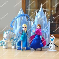 Wholesale Castle Toy For Girls - Original Disny Princess Elsa Mini Castle Playset Elsa Anna Olaf and Marshmallow Small Doll Figure Kids Toys Dolls For Girls Gift