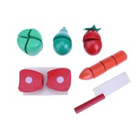 Wholesale Toy Vegetables For Baby - Wholesale- Wooden Baby Toys Cutting Fruit Vegetable Set Pretend Play Kids Toys Barrel Educational Toys for Children Gift