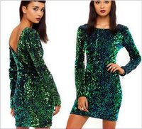 Wholesale Long Sleeve Sequin Dress Xs - Summer Dress Elegant Vestidos Women Green Sequin Dress Sexy Open Back Casual Dresses Brand Cocktail Party Dress free shipping