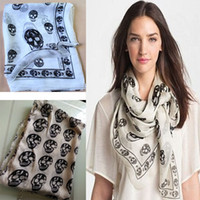 Wholesale Skeleton Big Scarf - 2015 New Fashion Womens Girl Big Skull Head Skeleton Soft Shawl Scarf Wrap Stole