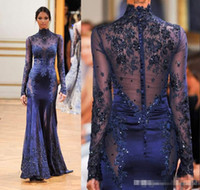 Wholesale See Through Sexy Prom Dresses - Cheap Zuhair Murad High Neck Lace Formal Evening Dresses Long Sleeve See-through Beads Appliques Prom Celebrity Gowns Custom Navy Blue 2015