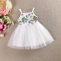 Wholesale Girls Dresses C - Girls Dress 2015 Summer New baby girls cotton floral sleeveless dress gauze sundress children clothes C