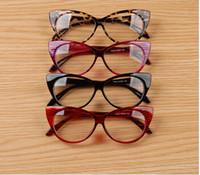 Wholesale Pink Eye Photos - Wholesale-Cool Cute Fashion Women Lady Girls Cat-eye Shape Spectacle Plain Glasses Plastic Eyeglasses Eyewears Street Photo Moda it