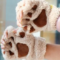 Wholesale bear paw gloves claws for sale - Group buy Cute Fluffy Bear cat Plush Paw claw Glove Novelty Halloween Soft Toweling Lady s Half Covered Gloves Mittens