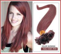 ingrosso auburn estensioni capelli u tip-wholesale-5A 1 g / s 100 g / pacco 14 '' - 24