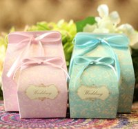 Wholesale Wholesale Printed Ribbon Suppliers - New Arrival Lace Print Candy Boxes 2015 Wedding Suppliers Favor Holders Packing Bags Ribbon Ties Printing Laser Cut 50 PCS   Lot