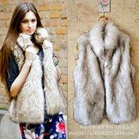 sahte kürk yelekler kadınlar toptan satış-Toptan Satış - Toptan-Plus Size Yeni 2015 Sonbahar Moda Faux Fur Yelek Kadın Kış Yelek Standı Yaka Sahte Kürk Yelek Sıcak Satış Bayanlar Yelek A472