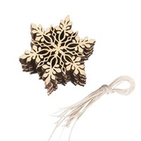10Pcs / Set Feliz árvore de Natal pendurado White Snowflake Ornaments Decoração Christmas Holiday Party Home Decor (cor de madeira)
