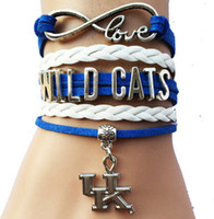 Wholesale Cheap Wholesale Letter Charms - 2016 hot sale Drop Shipping cheap price Infinity Love NCAA Kentucky Wildcats Team Bracele- Custom Sports Cheer Bracelet
