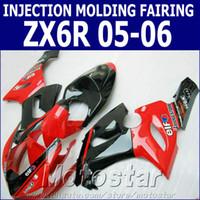 motosiklet için abs kit toptan satış-Kawasaki ZX6R 2005 2006 ZX636 için 100% Enjeksiyon kalıplama kaporta kiti parlak kırmızı siyah motosiklet fairings set Ninja ZX-6R 05 06 GH54