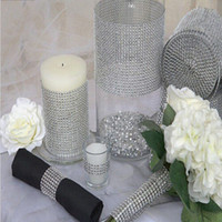 Wholesale Diamond Rings Decorations - New Wedding Gift DIY Craft Accessories 24 Rows Diamond Mesh Wrap Sparkle Rhinestones Crystal Ribbon 10 Yards Roll For Party Decoration