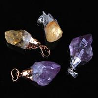 Wholesale Amethyst Druzy Pendant Bead - wholesale 10Pcs Charms Natural Druzy Amethyst Yellow Quartz Crystals Stone Random Shape Beads Stone Pendant Jewelry Natural Quartz
