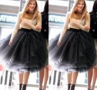 ingrosso più abiti eleganti di formato-2017 Elegante Ball Gown Tulle Gonne per le donne al ginocchio Lunghezza Bouffant multi strato Tutu nero abiti da festa corti Plus Size Maxi Gonne per adulti