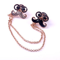 Wholesale Moustache Shirts - Vintage Clear Crystal Rhinestone Moustache Black Glasses MoustacheCollar Tips Shirt Stud Neck Brooch with Chain Tassels Golden