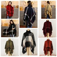 Wholesale Wrap Sweater Shawl - Plaid Poncho Scarf Tassel Fashion Wraps Women Scarves Tartan Winter Cape Grid Shawl Cardigan Blankets Cloak Coat Sweater shawl wraps KKA3273