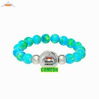 Bracelete de pedra natural, 2015 Novo Fashion Snap Button Stretch Bracelet DIY Beads de vidro Lake Blue 10 mm Charms, pulseiras para mulheres