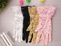 Wholesale Women Short White Lace Gloves - 2015 Women Wedding Bridal Lace Gloves Accessories Bride Tulle Flowers Hollow Short Ruffles Glove Car Drive Sun Protection Hand Wear new