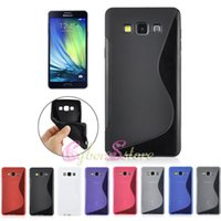 Wholesale Galaxy Wave Case - For Galaxy A3 A5 A7 S Wave Line TPU Soft Gel Rubber Candy Color Phone Case For Samsung A3000 A5000 A7000