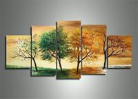 soyut sanat kaynağı toptan satış-El-boyalı Sanat Bahar, yaz, sonbahar ve kış dört mevsim Manzara sanat 5 adet / takım tuval üzerine Modern soyut manzara boyama