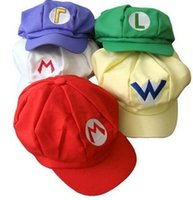 Super Mario Bros Cappello Luigi Mario Bros Cap Cosplay Anime Cappelli costume Caps 5colors da DHL