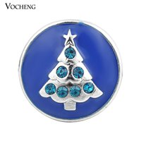 Wholesale Metal Jewelry Tree - Noosa 18mm Snap Button Christmas Tree Metal Snap Button Inlay Crystal 3 Colors Button Jewelry (Vn-871)
